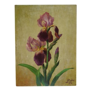 Purple Iris Oil Painting on Masonite