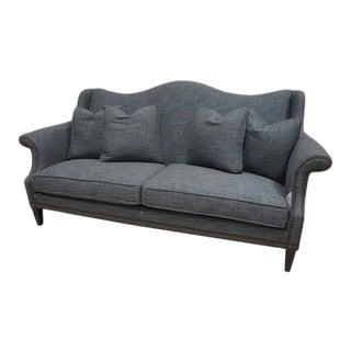 Blue Tweed Wingback Camel Back Loveseat Sofa