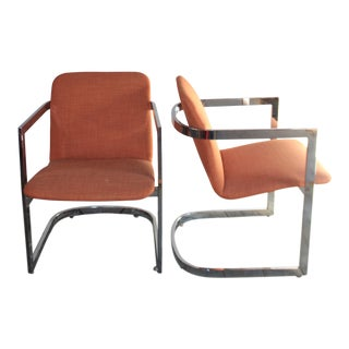 Mies Van Der Rohe Style Chrome Chairs - A Pair
