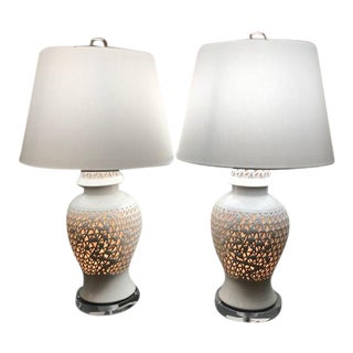 Blanc De Chine Restored Porcelain Lamps - A Pair