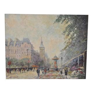 """Marcel Brisson Original """"Paris"""" Oil Painting c.1960"""