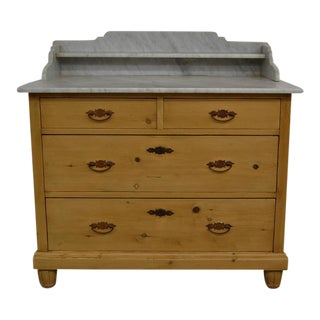 Pine Marble-Top Chest of Drawers
