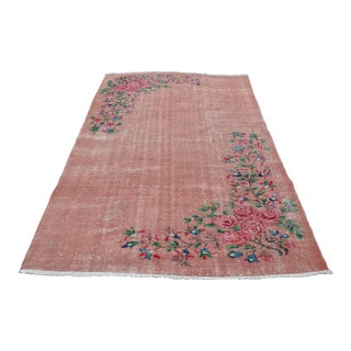 Turkish Oushak Pink Overdyed Rug - 5′2″ × 8′4″