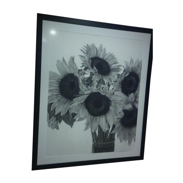 Image of Reuben Jacobs Charcoal Sunflowers Drawing