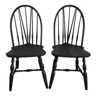 Antique Brace Back Windsor Chairs – A Pair