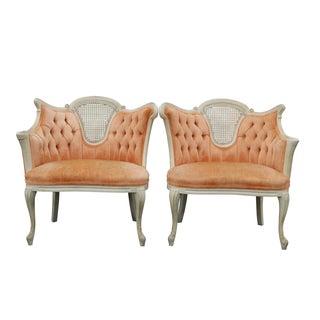 Peach Tufted Velvet Bergere Chairs- A Pair