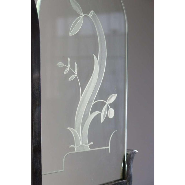 Italian Etched Glass Deco Chandelier - Image 6 of 9