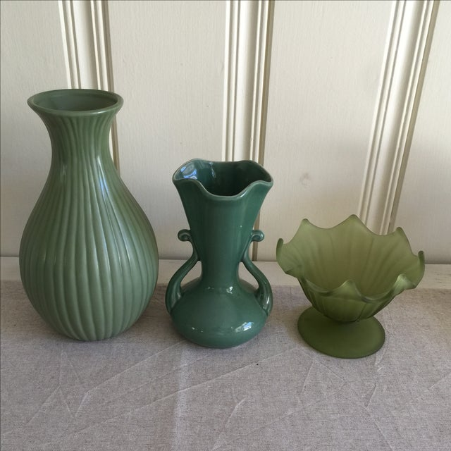 Green Ceramic & Frosted Glass Vases - Set of 3 - Image 3 of 11