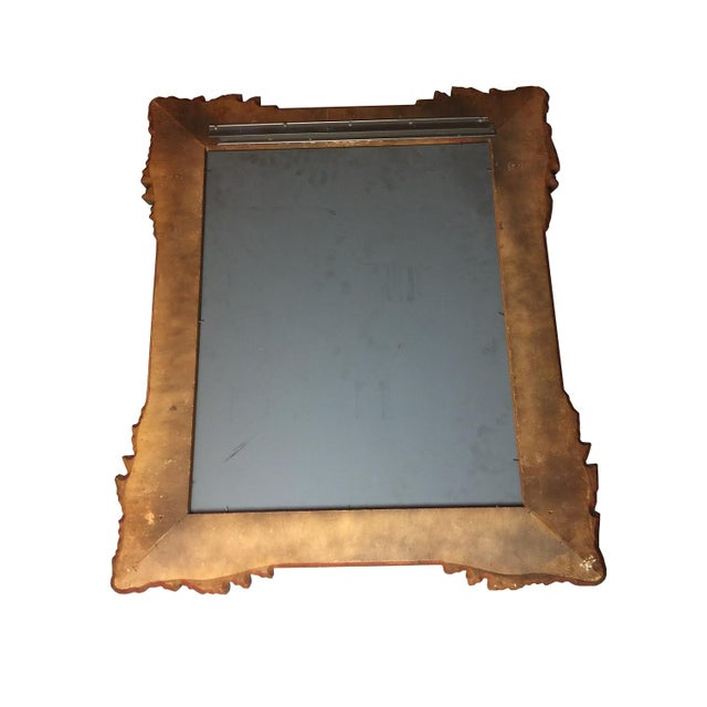 Image of Vintage Gold Hand Carved Wooden Mirror