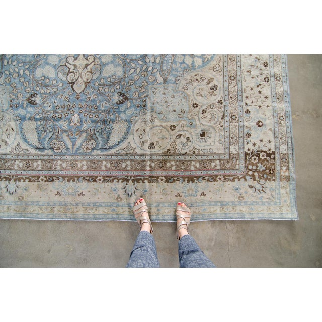 Vintage Persian Bokhara Wool Area Rug 10 X 13: Vintage Persian Large Tabriz Hand Knotted Light Wool Low