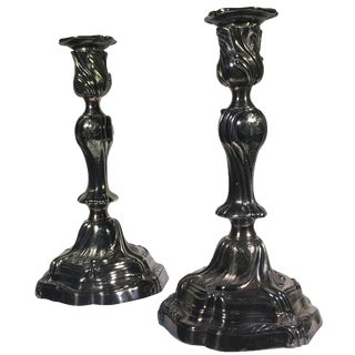 French Silver-Plate Candelabra - A Pair