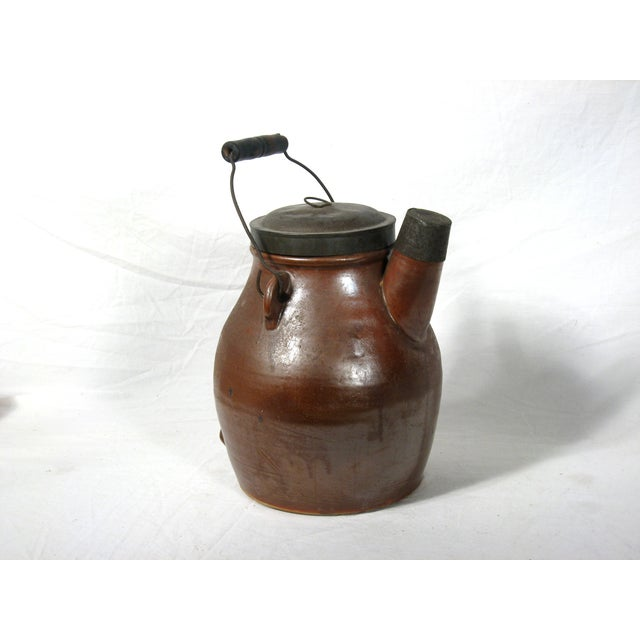 Antique Brown Pitcher With Lid - Image 2 of 6
