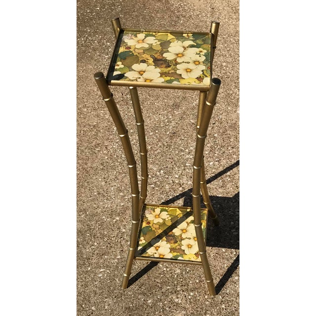 Vintage Faux Bamboo Side Table Plant Stand - Image 5 of 10