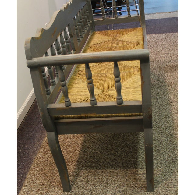Painted Country French Triple Rush Seat Bench - Image 5 of 11
