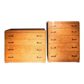Art Deco Bird's-Eye Maple Dressers - A Pair