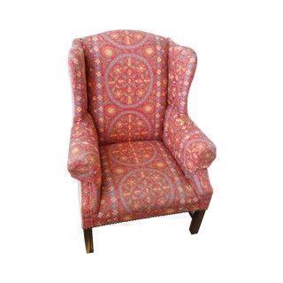 Coral Upholstered Wing Chair