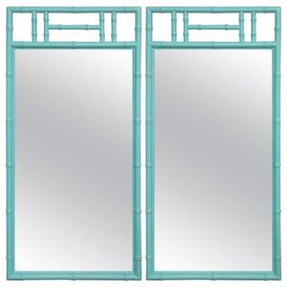 Tiffany Blue Bamboo Form Mirrors - Pair