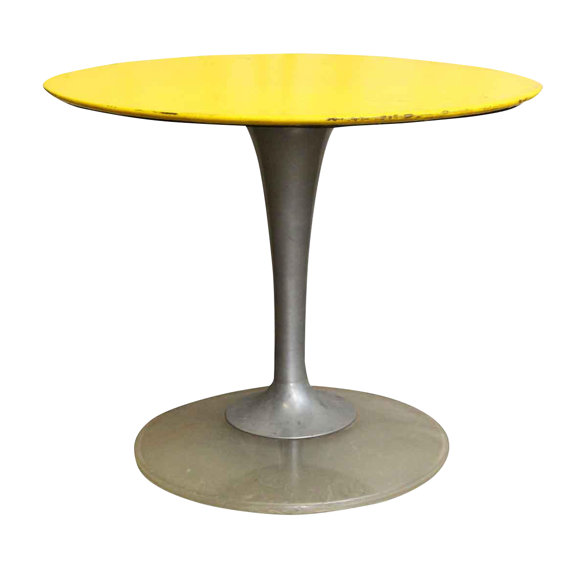 Marvelous Yellow U0026 Brushed Chrome Cafe Or Ice Cream Parlor Table