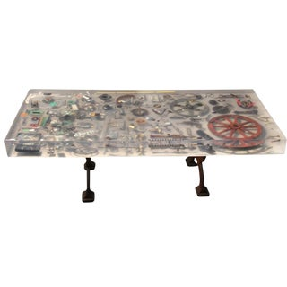 "Metal Instruments & Resin ""Industrial Revolution"" Coffee Table"