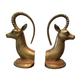 Brass Antelope Bookends - A Pair