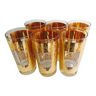 Vintage Hollywood Regency Tall Gold Cocktail Glasses