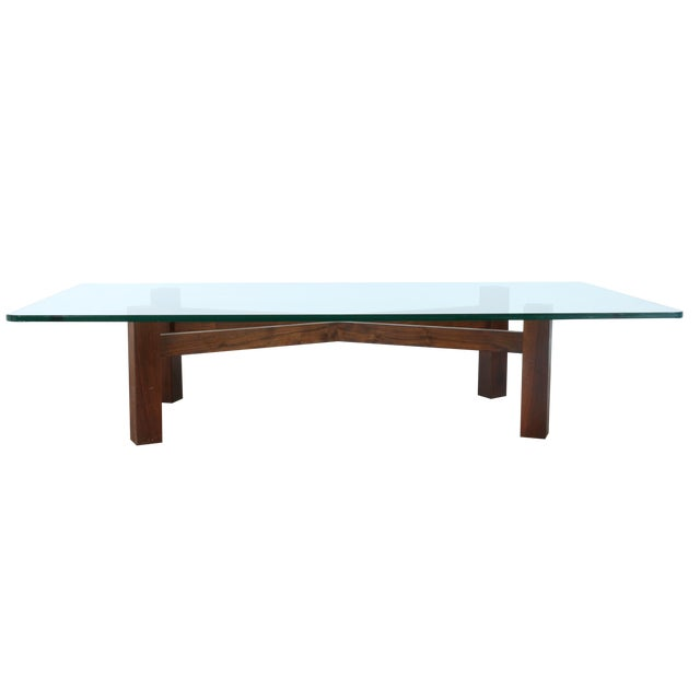 Solid Walnut Base Coffee Table With Glass Top Chairish