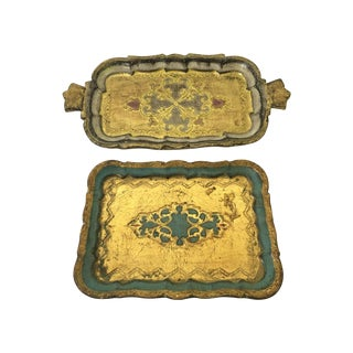 Vintage Italian Florentine Trays - Pair
