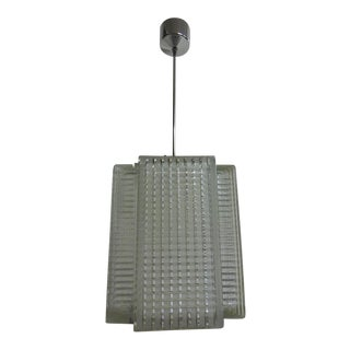 Pressed glass hanging lamp by Napako, 1970s