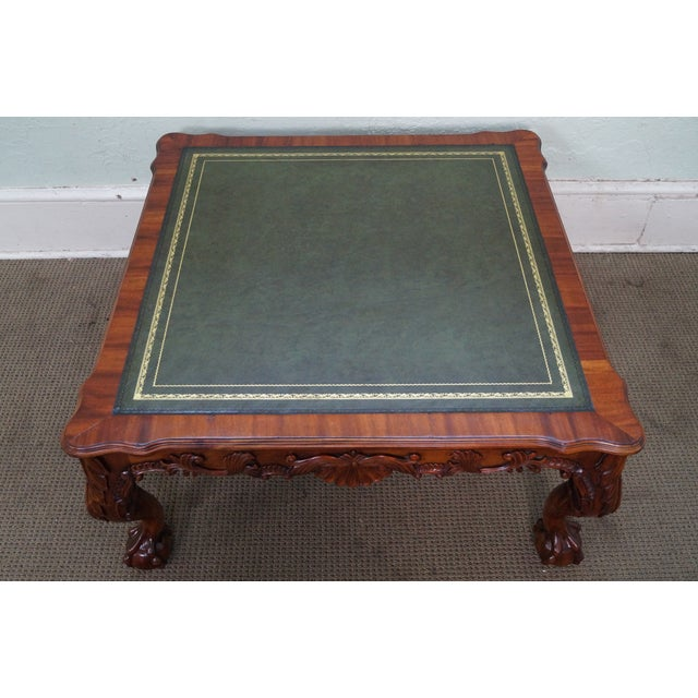 Mahogany Chippendale Ball & Claw Foot Leather Top Coffee