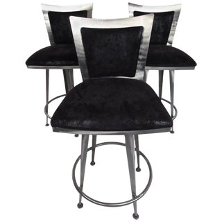 Italian Modern Swivel Barstools - Set of 3