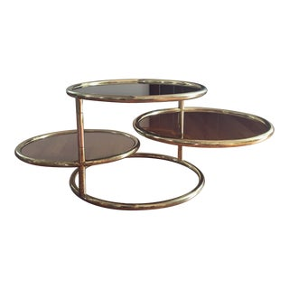Smoke Glass & Brass Swivel Cocktail Table