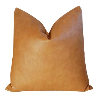 "20"" Custom Tailored Italian Brown Leather & Velvet Feather/Down Pillow"
