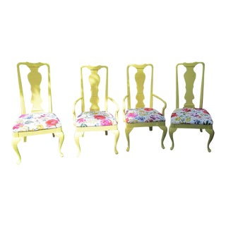 Yellow Floral Chairs - Set of 4