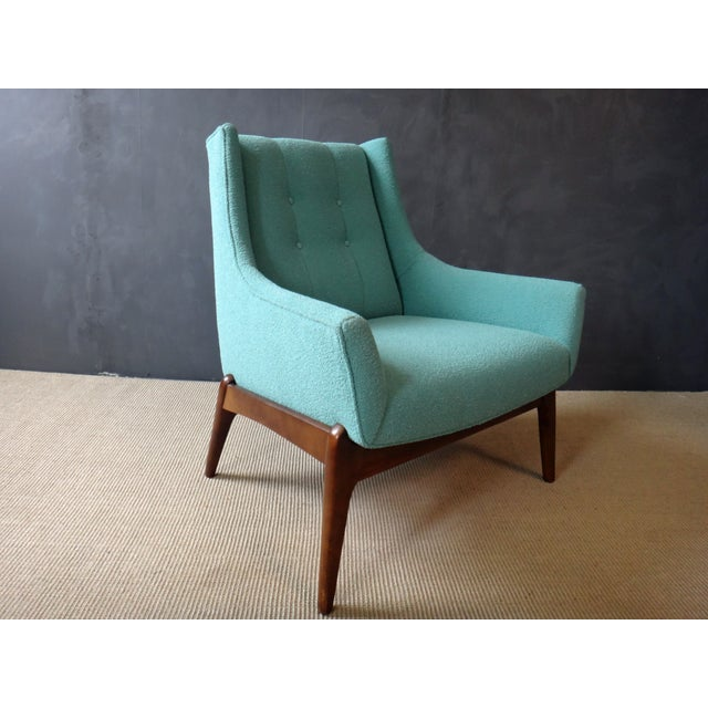 Mid-Century Reupholstered Turquoise Club Chair - Image 3 of 5
