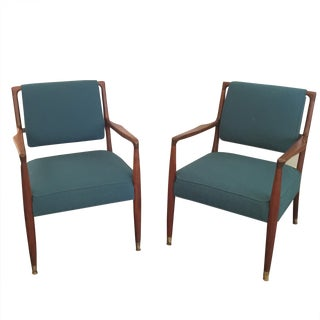 Danish Modern Walnut Arm Chairs - Pair