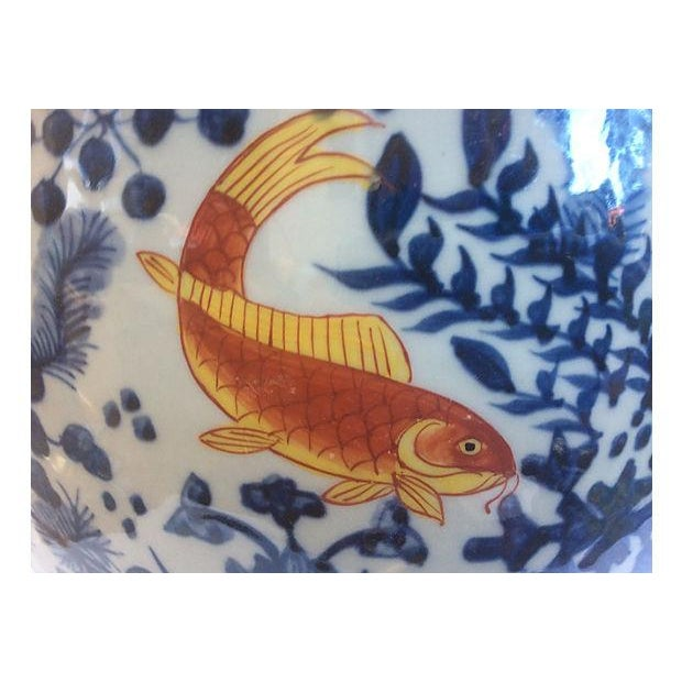 Blue & White Jardinière with Goldfish - Image 2 of 5