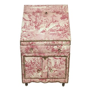 French Country Toile Linen Secretary