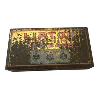 1940s Lipton Tea Advertising Tin Stash Box