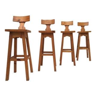 Set of Four Scandinavian Solid Pine Wood Barstools, Style of Rainer Daumiller