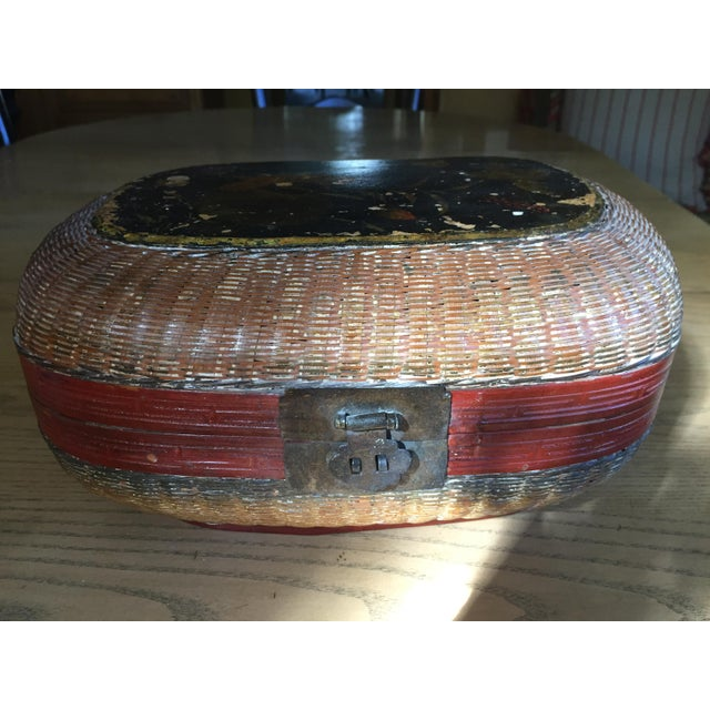 Vintage Chinese Bamboo Sewing Basket - Image 6 of 11