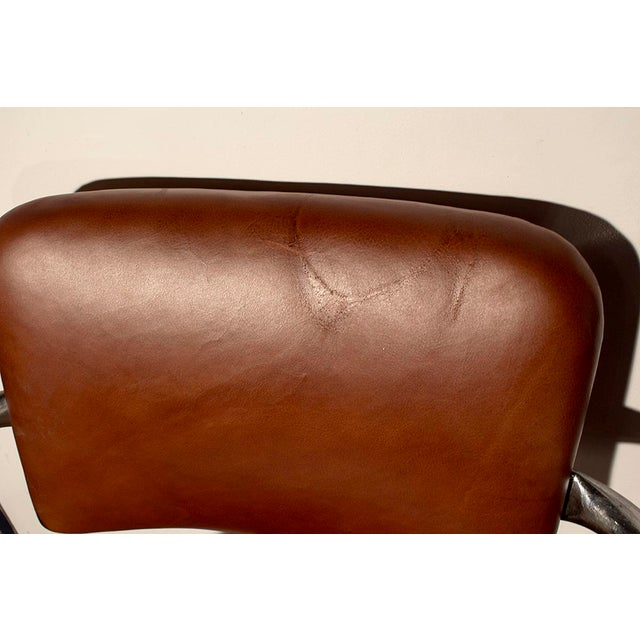 1930s Chromcraft Cantilever Leather Armchairs- A Pair - Image 7 of 7