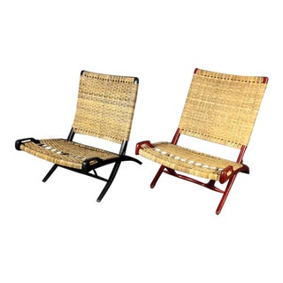Lacquered Wood and Cane Folding Chair, Manner of Hans Wegner