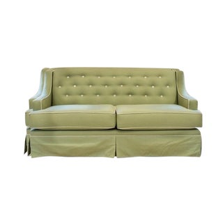 Tufted Back Green Linen Sofa with Contrast Piping