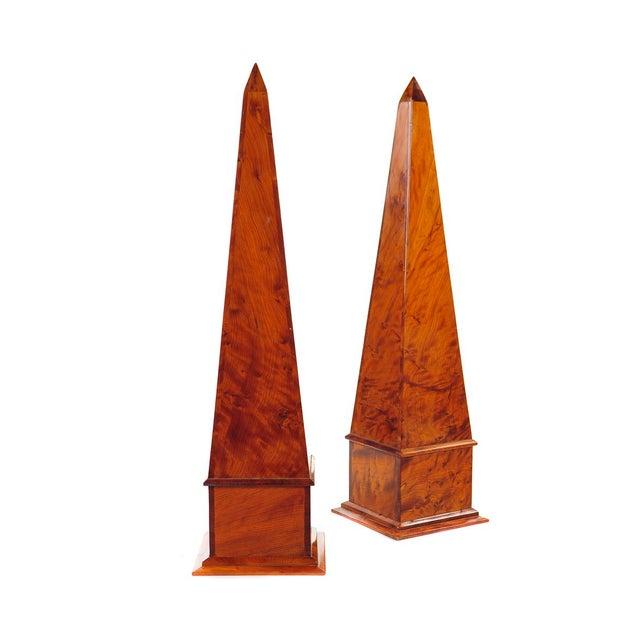 19th C. Large Burl Walnut Obelisks - A Pair - Image 2 of 9