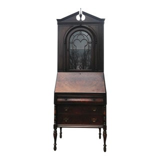 Antique Gothic Victorian Carved Mahogany Drop Front Secretary Desk