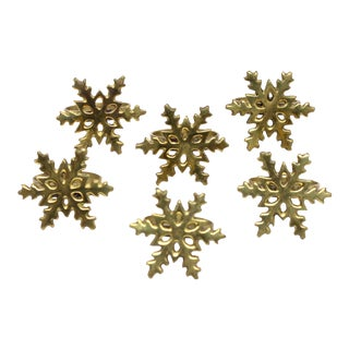 Brass Snowflake Napkin Rings - Set of 6