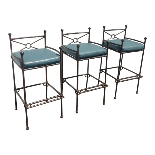 Metal & Turquoise Blue Leather Tall Barstools - 3 - Image 1 of 11