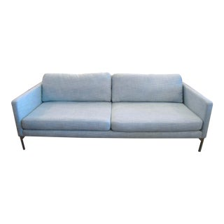 Chrome & Light Aqua Blue Sofa