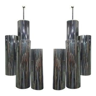 Pair of Kagan Style Chrome Tubular Light Pendants