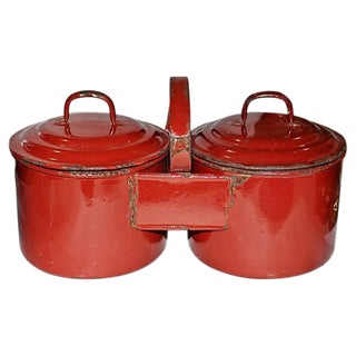 French Enamelware Siamese Serving Pots